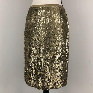 Badgley Mischka Silk Sequin Pencil Skirt